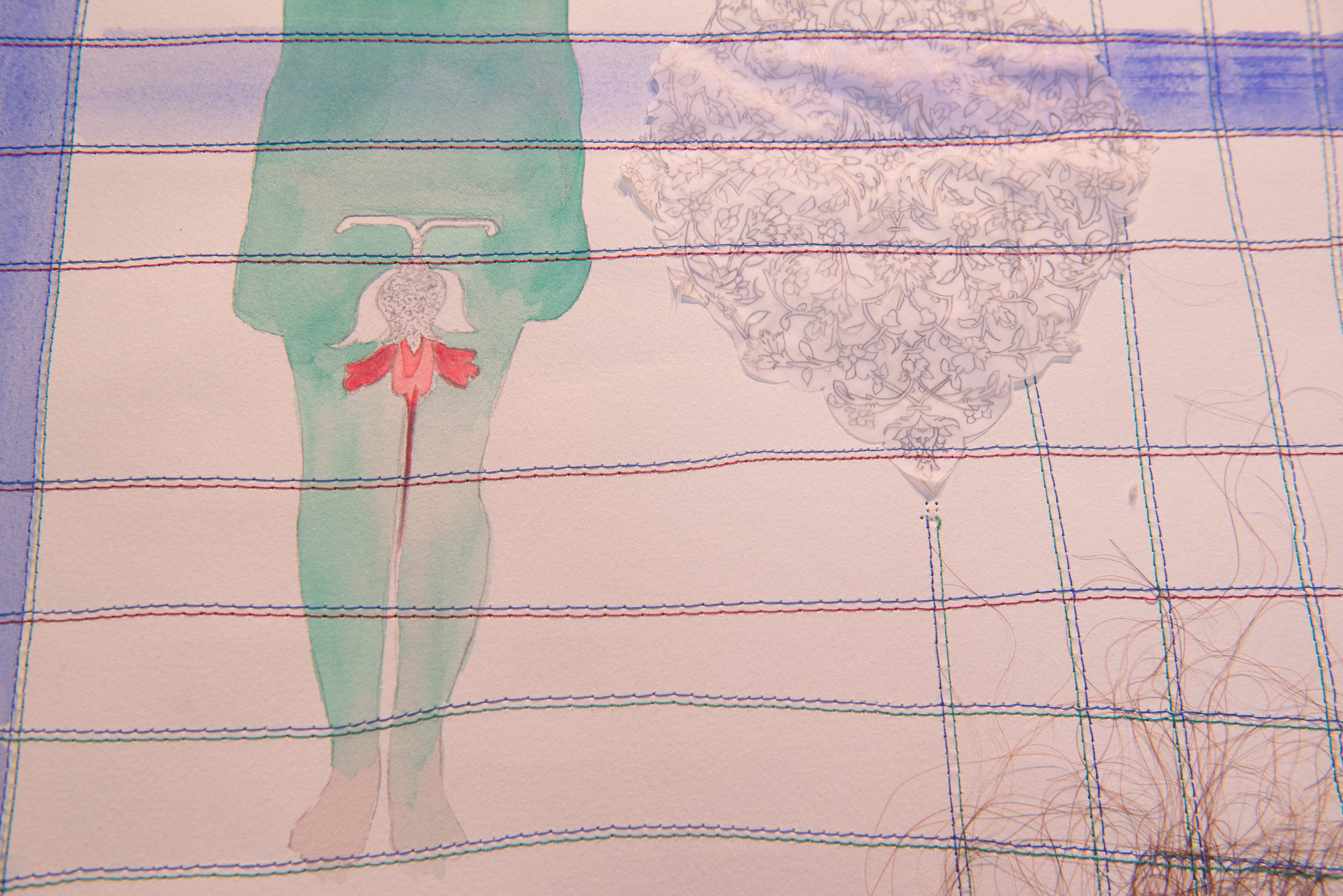 detail of artwork with collaged drawings and sewn thread