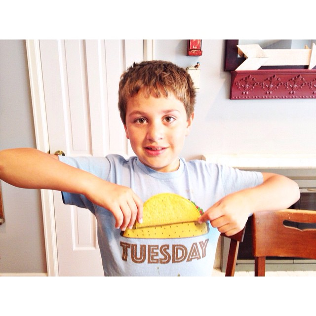 Grumpy boy got released from his room just in time for Taco Tuesday to match his shirt #aedayinthelife