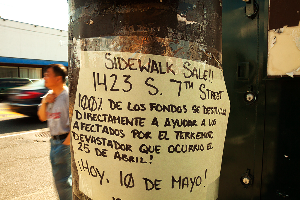 Flyer-in-Spanish-announcing-a-fundraising-sidewalk-sale-for-Nepalese-earthquake-victims--Italian-Market