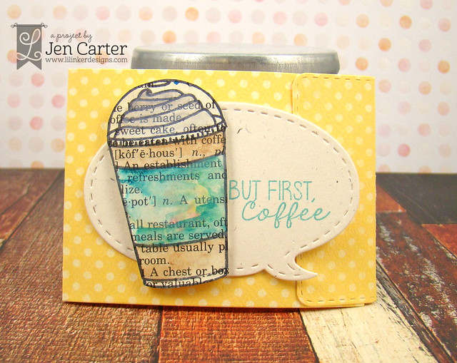Jen Carter Iced Coffee Gift Card Holder Iced Coffee Watercolor 1 wm