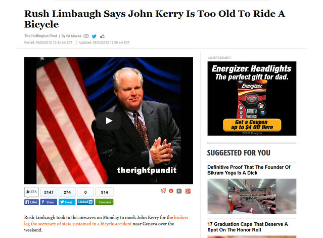 Rush Limbaugh Says John Kerry Is Too Old To Ride A Bicycle