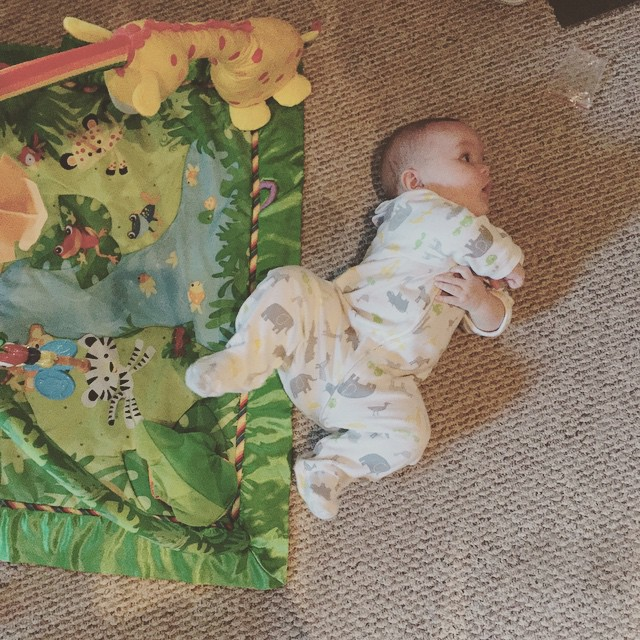 Someone is rolling over! Right off the mat! #DMbabies #motherhood #baby #babyhood