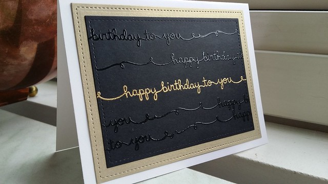 I made a very clean and simle birthdaycard! Embossed the text whith clear and gold.