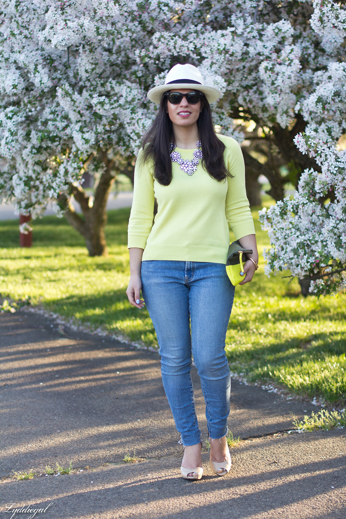 yellow sweater, denim, nude pumps, panama hat.jpg