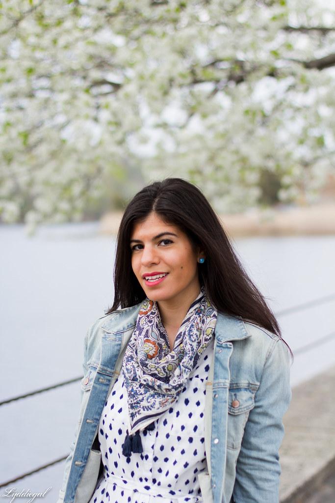 polka dot shirt dress, denim jacket, scarf-8.jpg