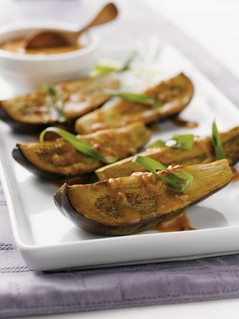 Roasted Baby Eggplants with Spicy Peanut Soy Dressing