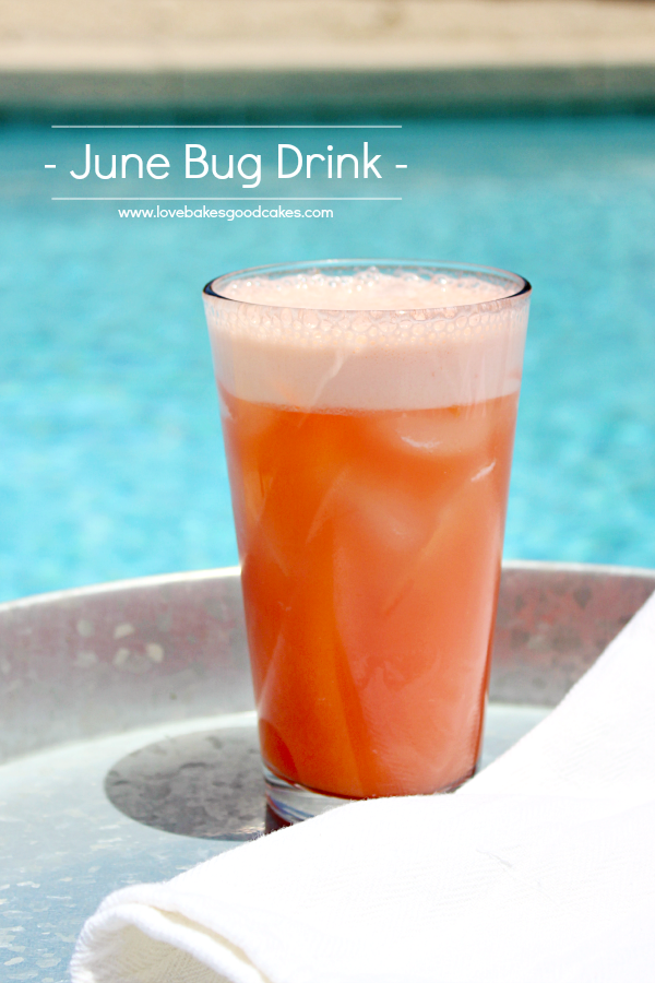 June Bug Drink on a pool deck.