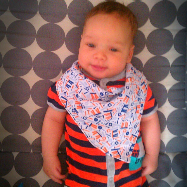 Decked out in his new #memade bib. 3 months old! #scrapbusting