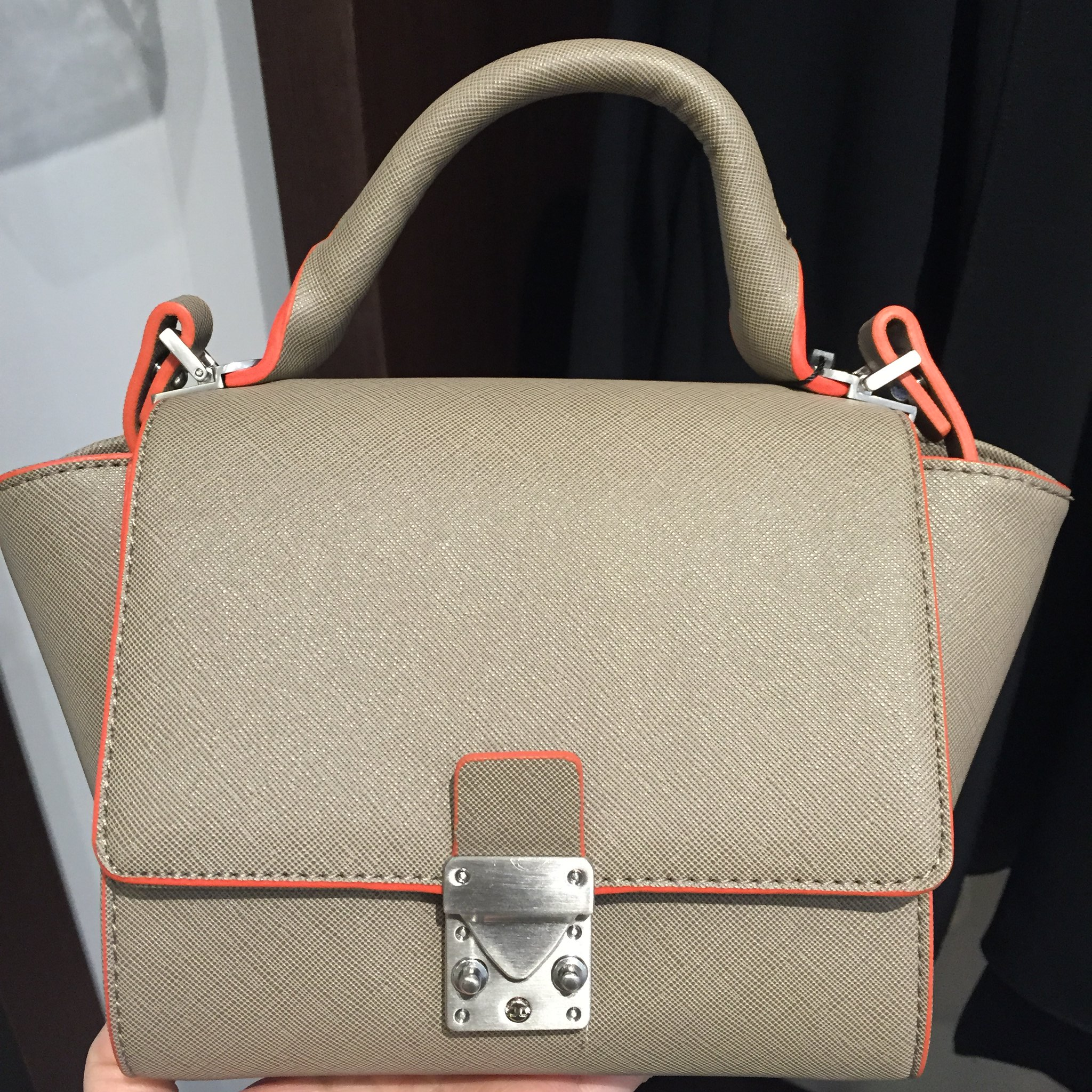 Zara Structured Mini Messenger Bag with buckle in taupe (item no. 4127/004)