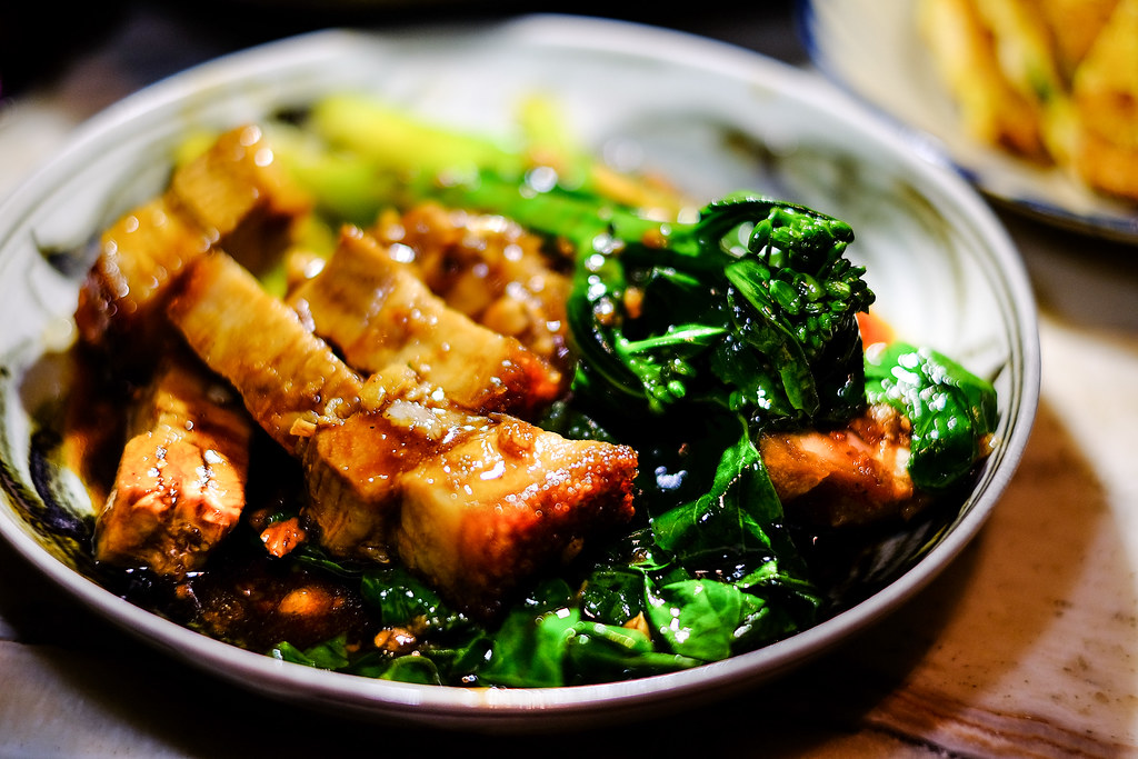 Long Chim's Stir fried Chinese broccoli, crispy pork and oyster sauce