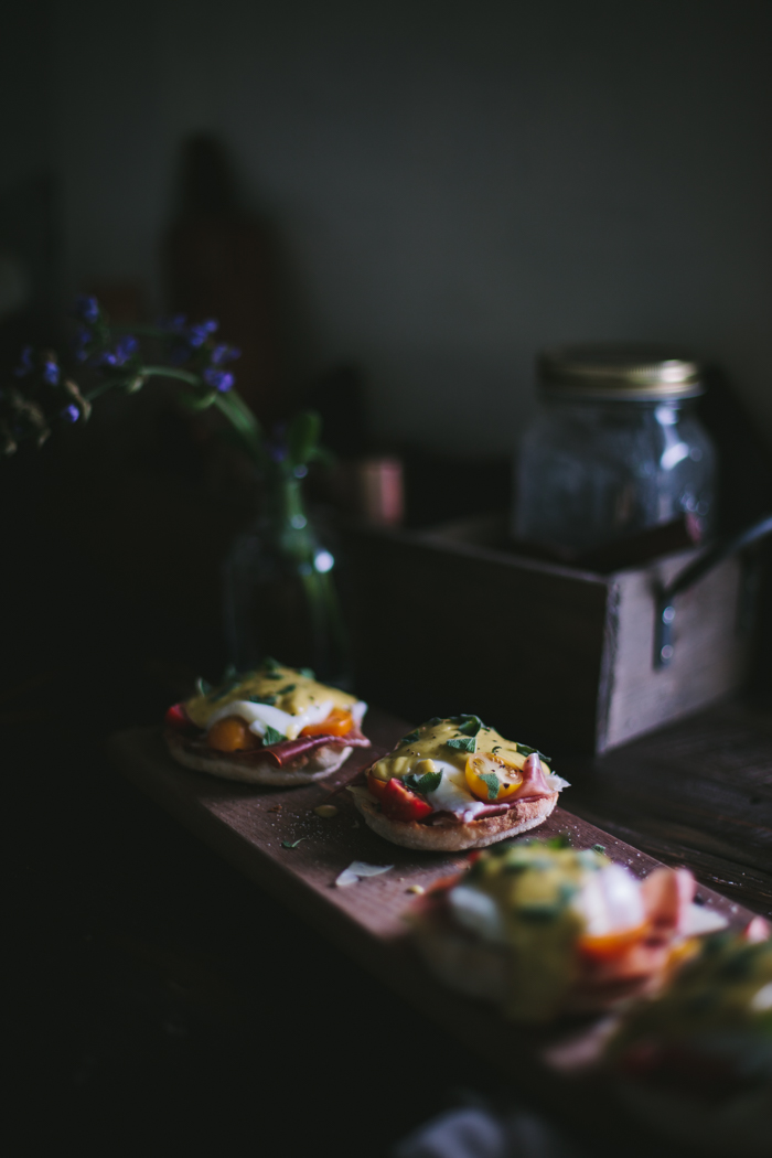 Eggs Benedict with Manchego, Tomatoes, Prosciutto & A Sage Hollandaise Sauce by Eva Kosmas Flores | Adventures in Cooking
