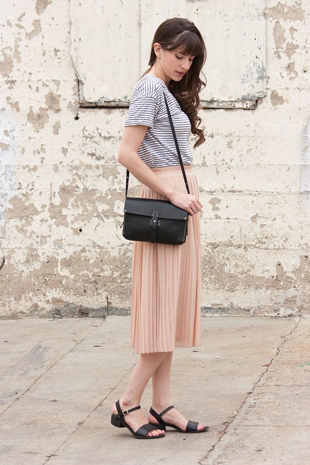 Blush Pleated Midi Skirt, Striped Tee, Black Madewell Bag
