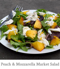 Venice Farmers Market Salad with Peaches, Mozzarella, Lemon Basil & Meyer Lemon