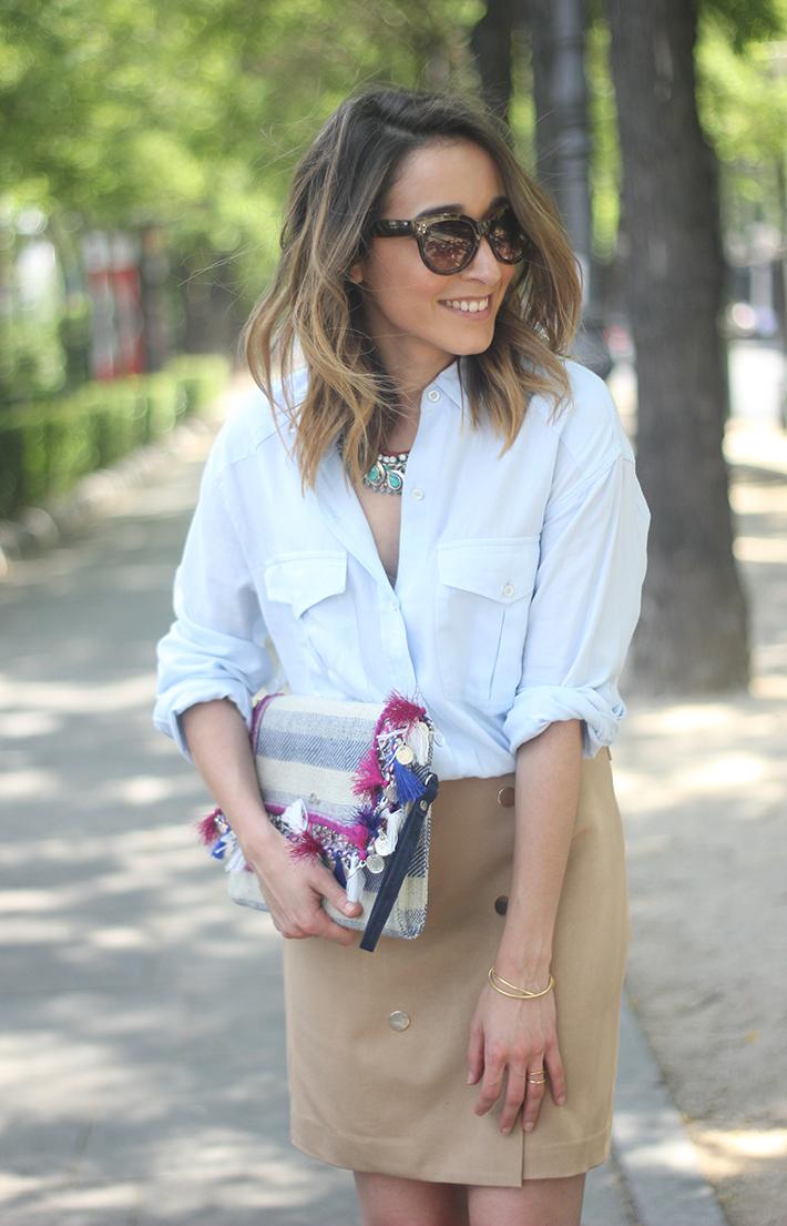 Beige Skirt With Blue Shirt13