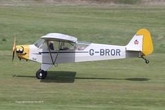 G-BROR - 1943 build Piper J3C-65 Cub, arriving on Runway 26L at Barton