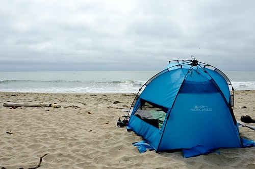Trying out the new beach tent