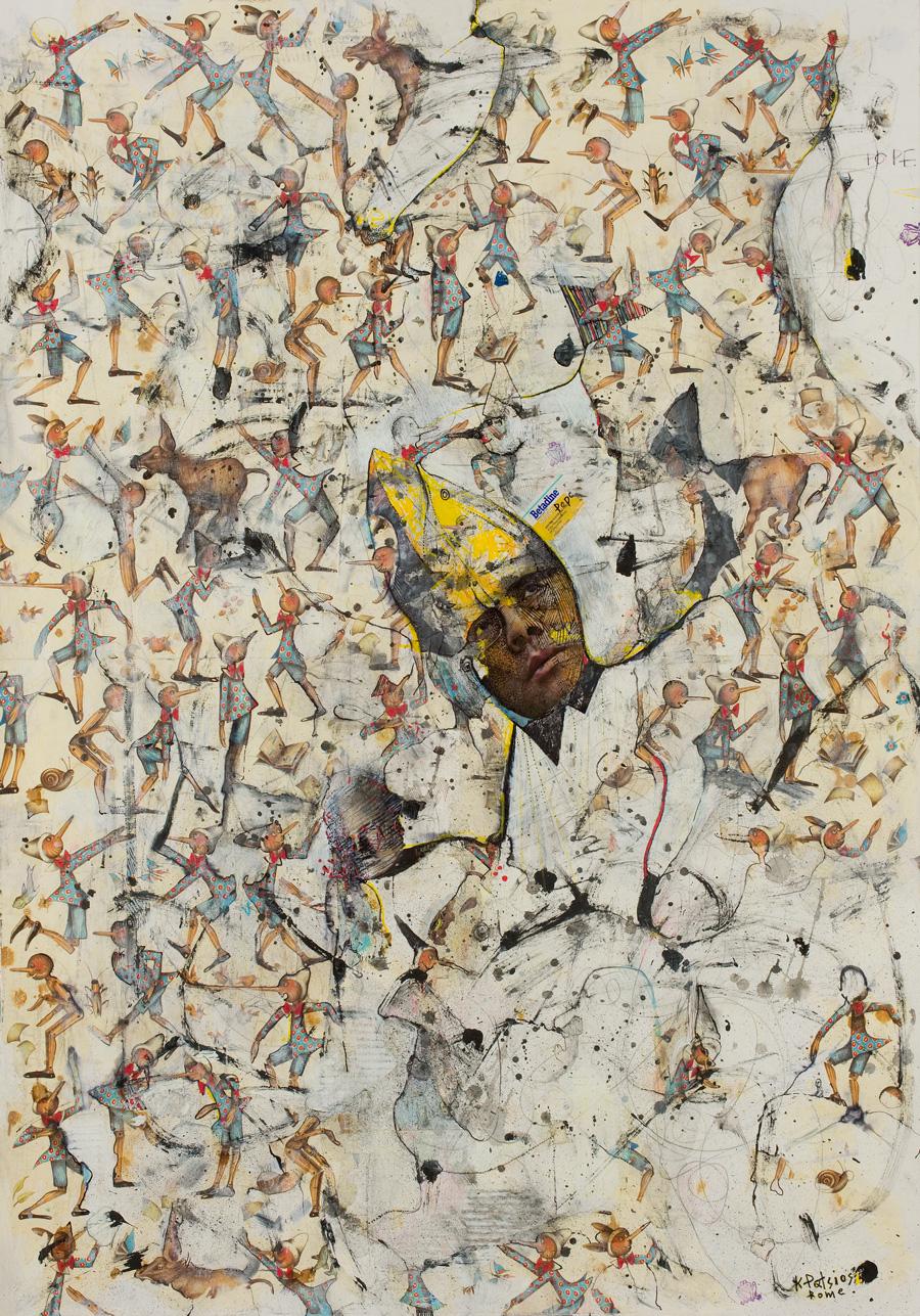 The-Blender-Gallery,-Athens,-Secret-garden-100x70cm-mixed-media