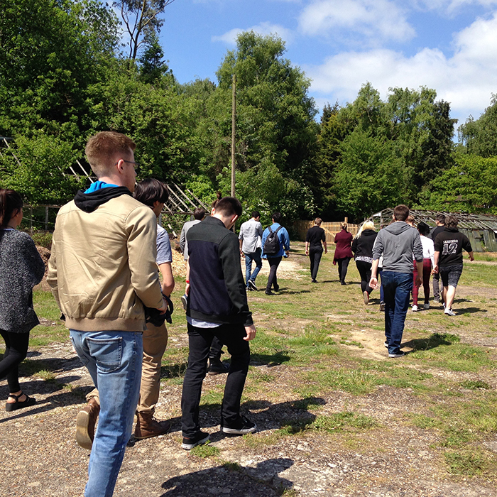 Students exploring the site