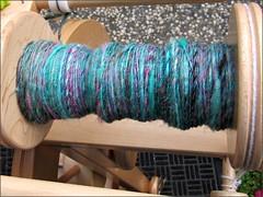 Wild Turquoise handspun, in progress