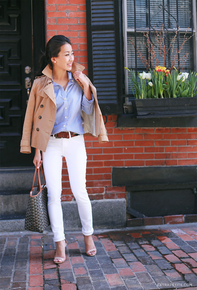 white jeans striped shirt outfit2