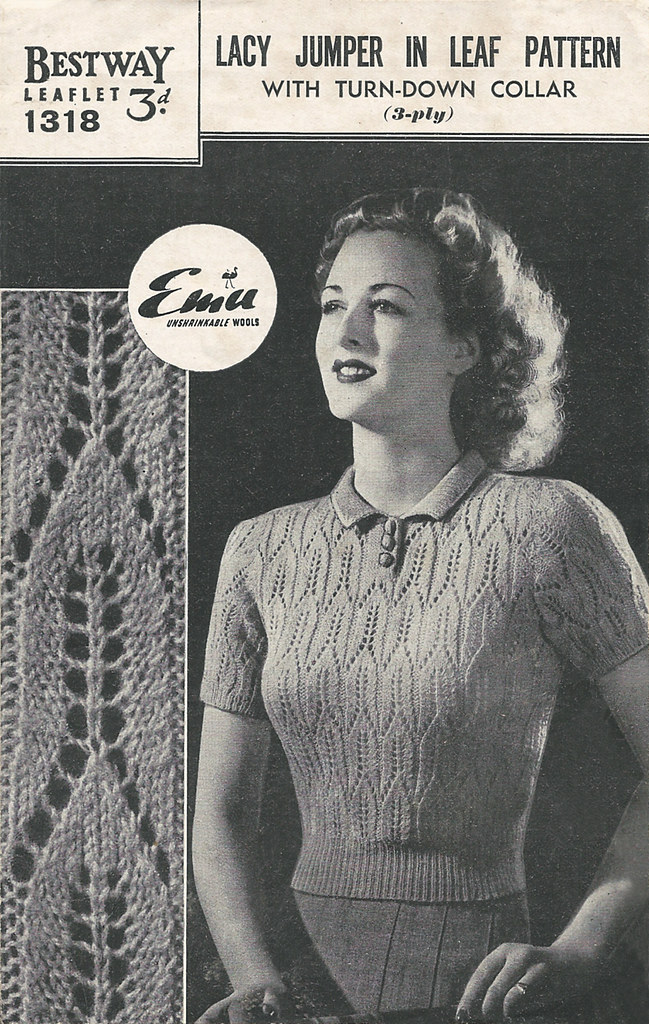 1940s Lacy Jumper in Leaf Pattern