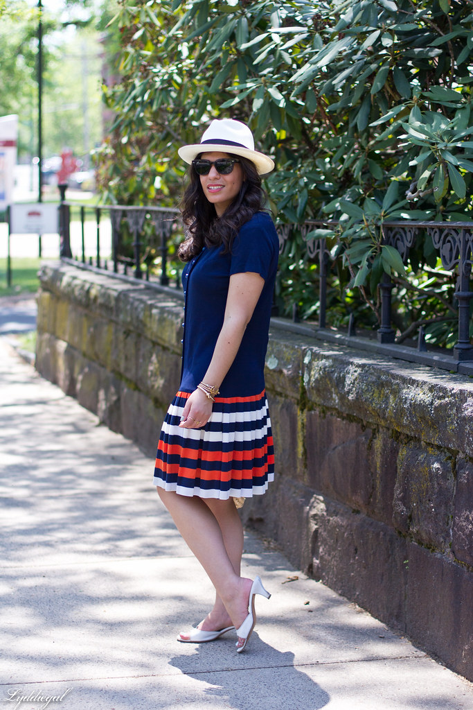 navy drop waist dress, panama hat, straw bag-5.jpg