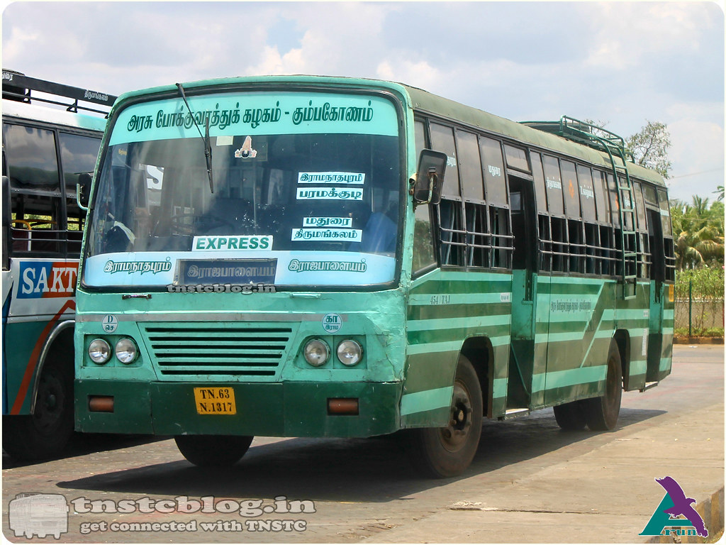 TN-63N-1317  Ramanathapuram Depot Ramanathapuram - Rajapalayam via Paramakudi, Madurai, Thirumangalam, T.Kallupatti, Srivilliputtur.