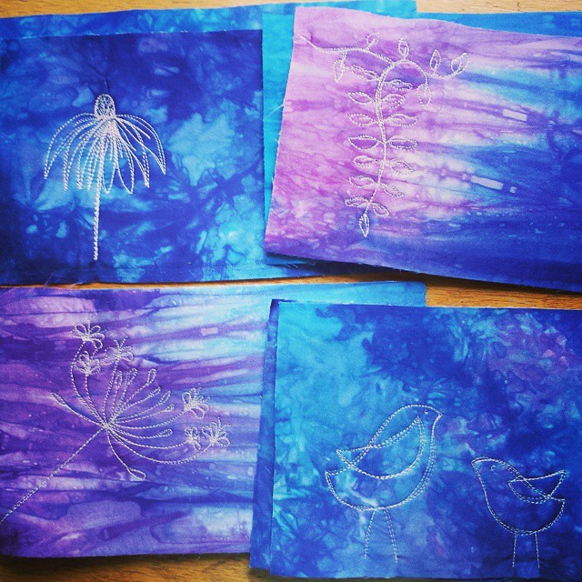 4 more #freemotionmachinesketched   fronts in my Wisteria palette! #19SateenClutchesOrBust