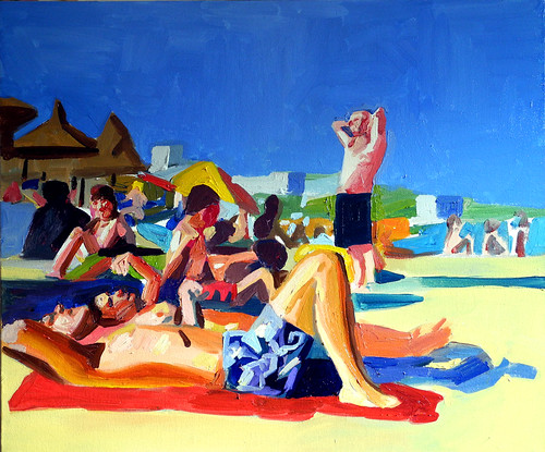 beach scene with blue shorts