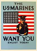 World War II Poster - The U.S. Marines Want You