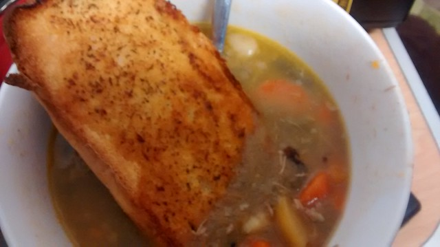 soup with crusty garlic bread