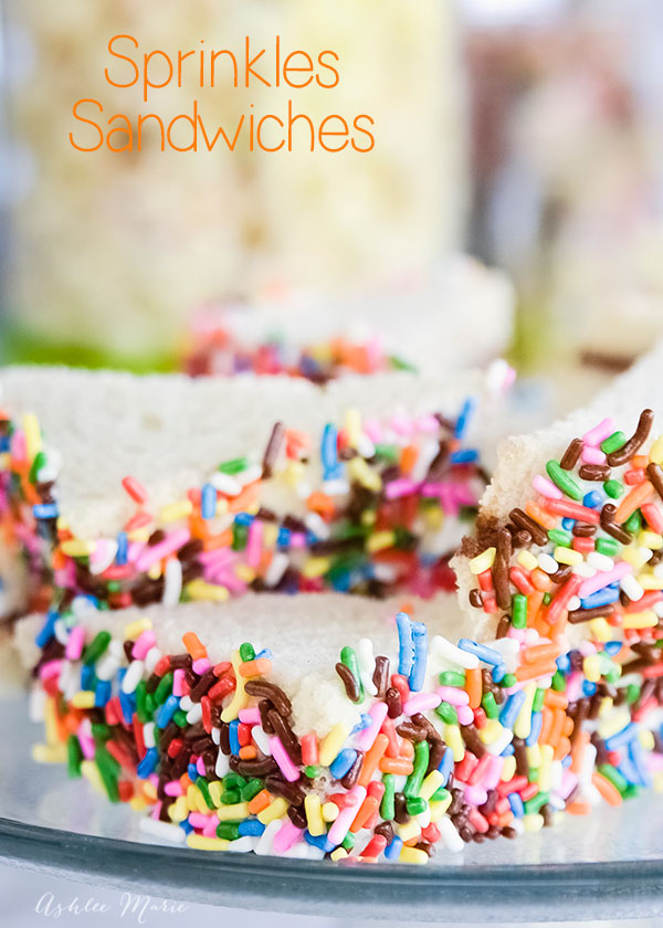 kids think that sprinkles are magical so sprinkles sandwiches are perfect for parties