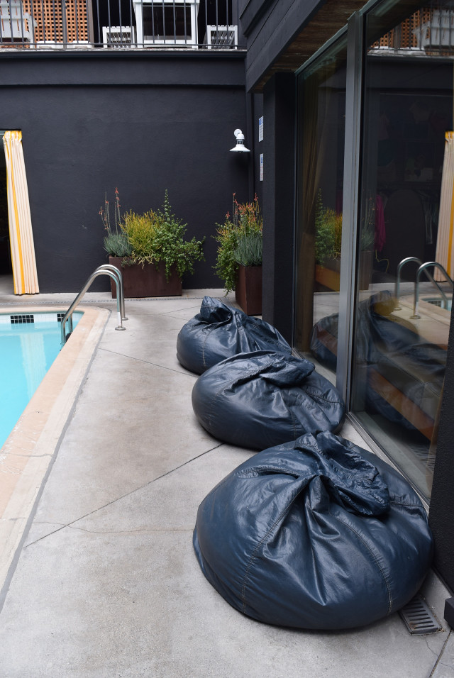 Poolside Beanbags at Farmers Daughter Hotel, West Hollywood