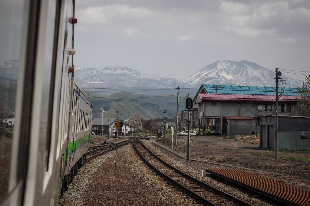 On the one-man train on the Niseko line near Ranshima (Hokkaido, Japan)