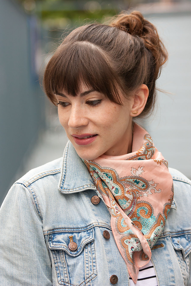 J.Crew Paisley Scard, Denim Jacket, Gorjana Earrings