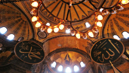 Inside Hagia Sophia, Jesus in between ALLAH and Muhammad PBUH calligraphy.