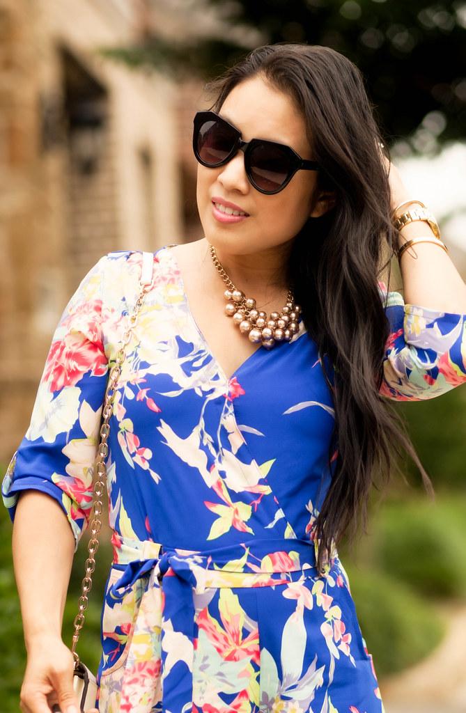 cute & little blog | petite fashion | sheinside blue floral romper,pearl cluster necklace, karen walker number one | spring summer outfit