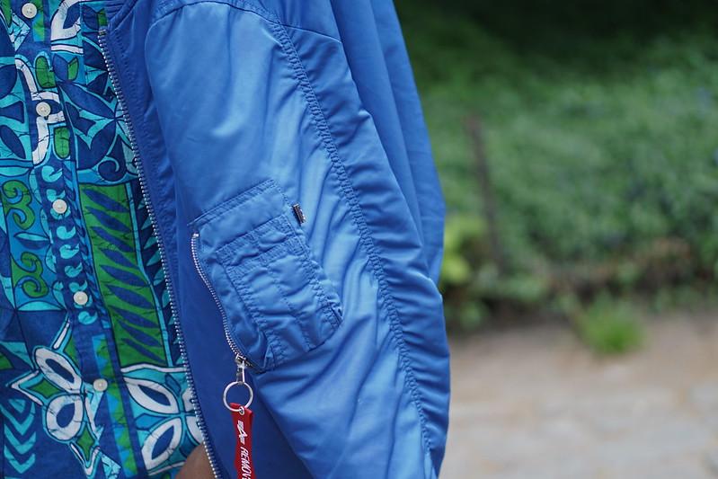 Green and Blue Floral Shirt w/ Blue Flight Jacket