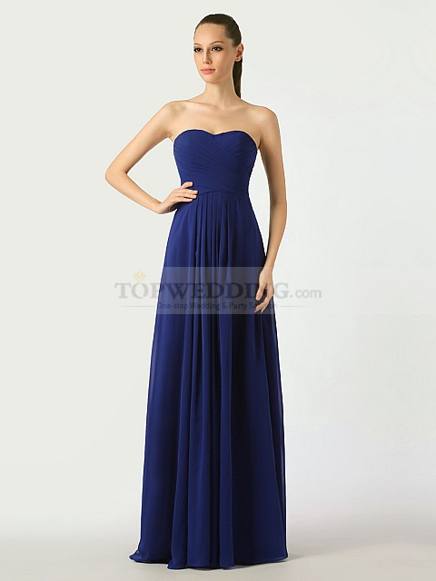 Midnight-Blue-Sweetheart-Chiffon-Bridesmaid-Dress-with-Lace-Up-Back