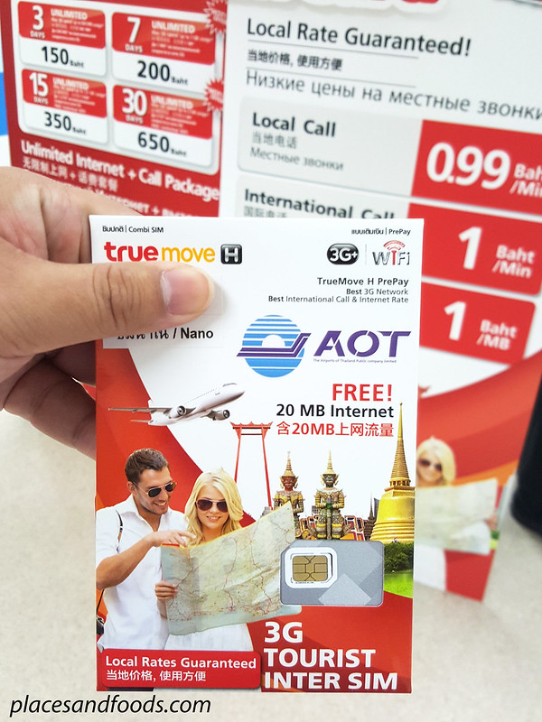 phuket free sim card true move