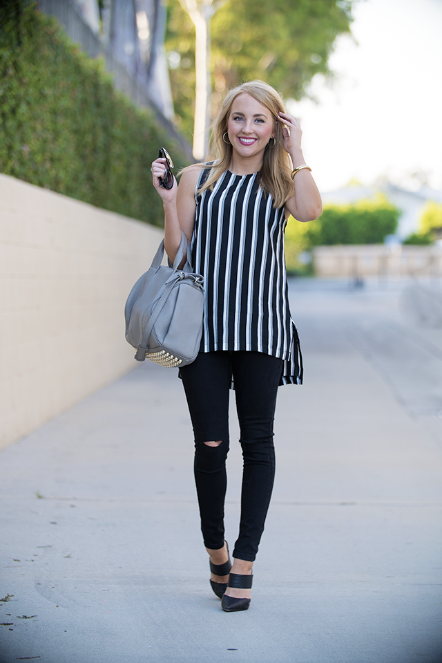 chic and casual black and white look