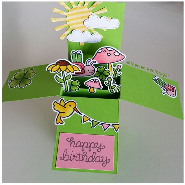 Little card in a box I made for my best friends using LawnFawn stamps. I love this Gleeful Gardens set!
