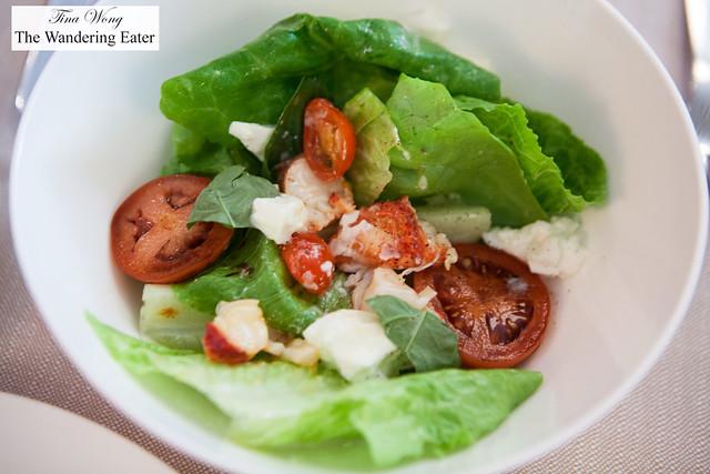 Chilled Maine lobster salad, mozzarella di bufala, tomatoes, baby gem lettuce, basil