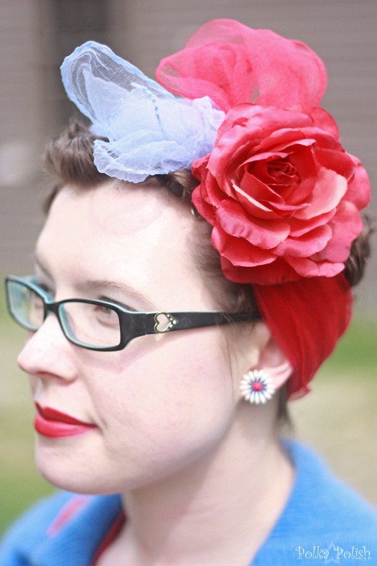 Red and blue chiffon scarf turban