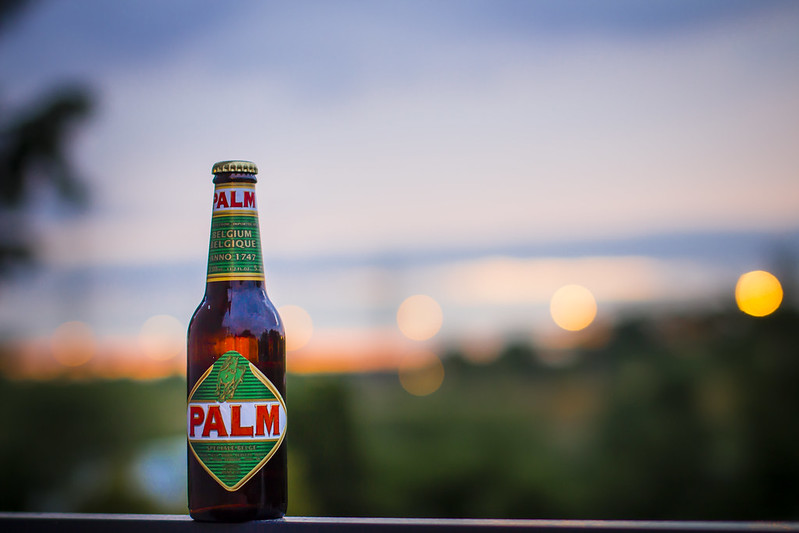 Palm Beer with sunset