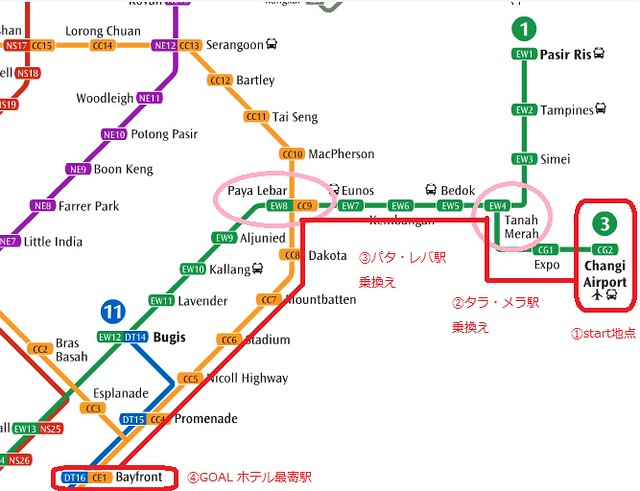 チャンギ空港からマリーナベイサンズホテルへMRT(地下鉄・電車)での行き方
