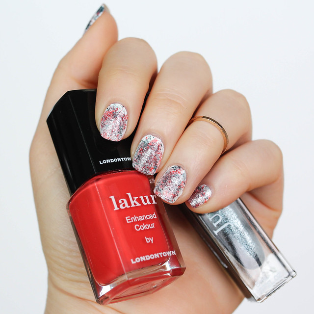 Paint Splatter Manicure | Red and Metallic Gray Nail Art | Mani on Living After Midnite by Jackie Giardina Beauty Blogger