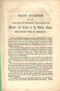 Daniel Groux's 1855 pamphlet for collection raffle title page