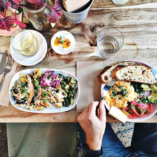Even working weekends need a brunch break at some point.  On the left, all the salads and a roasted green oolong. On the right chilli Parmesan eggs and an impatient please take the photo already I'm hungry husband. ????