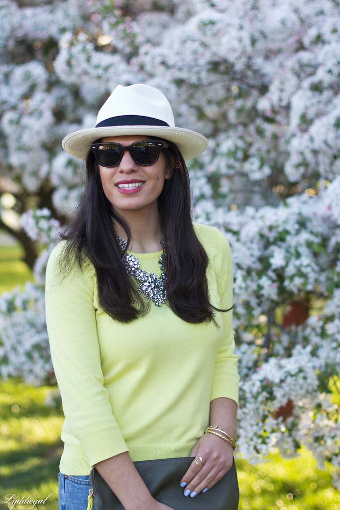 yellow sweater, denim, nude pumps, panama hat-4.jpg